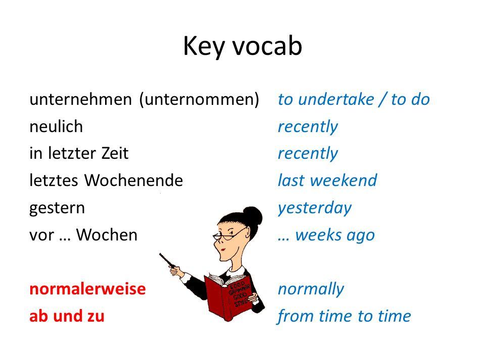 Key vocab unternehmen (unternommen) neulich in letzter Zeit letztes Wochenende gestern vor … Wochen normalerweise ab und zu to undertake / to do recen