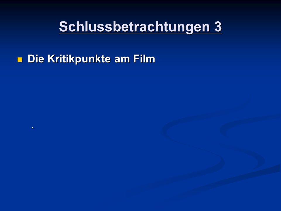 Schlussbetrachtungen 3 Die Kritikpunkte am Film Die Kritikpunkte am Film.