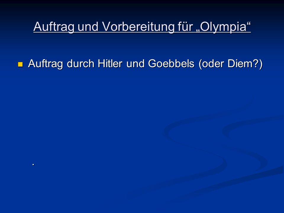 Auftrag durch Hitler und Goebbels (oder Diem?) Auftrag durch Hitler und Goebbels (oder Diem?).