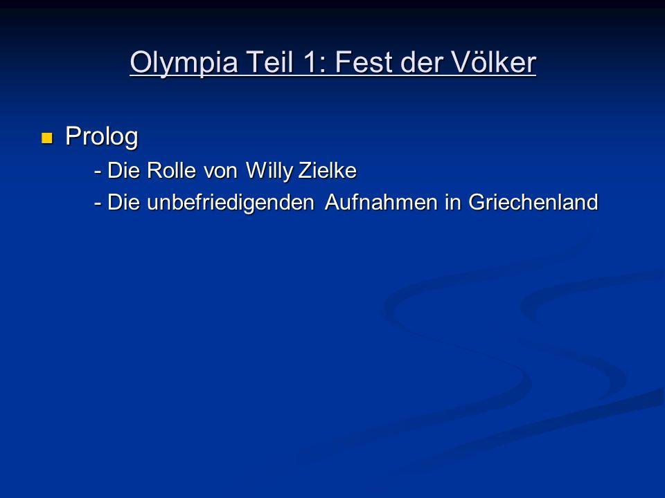 Olympia Teil 1: Fest der Völker Prolog Prolog - Die Rolle von Willy Zielke - Die unbefriedigenden Aufnahmen in Griechenland