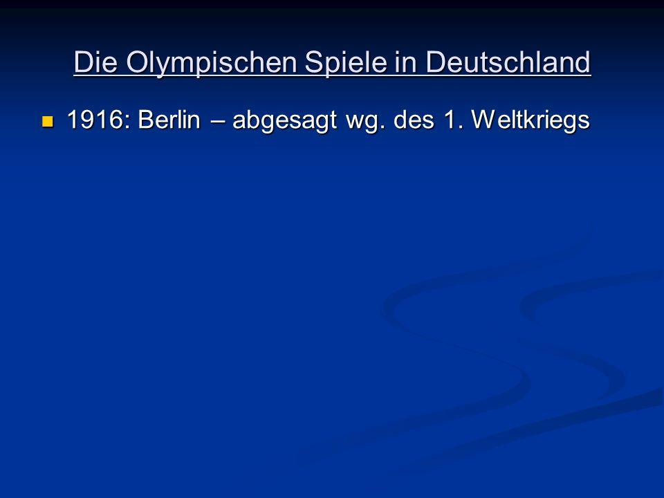 1916: Berlin – abgesagt wg. des 1. Weltkriegs 1916: Berlin – abgesagt wg. des 1. Weltkriegs
