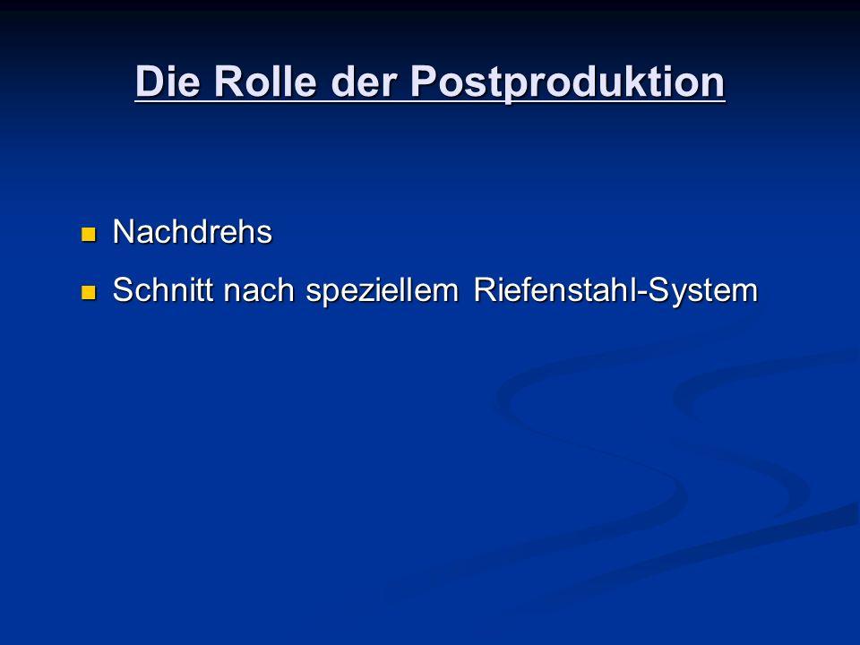 Die Rolle der Postproduktion Nachdrehs Nachdrehs Schnitt nach speziellem Riefenstahl-System Schnitt nach speziellem Riefenstahl-System
