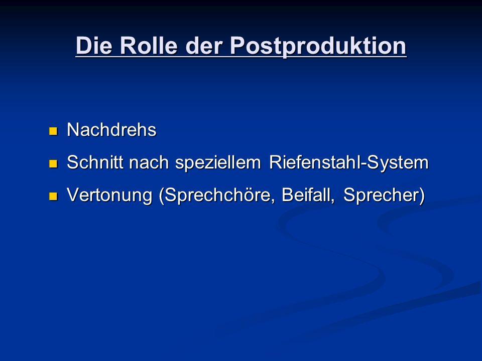 Die Rolle der Postproduktion Nachdrehs Nachdrehs Schnitt nach speziellem Riefenstahl-System Schnitt nach speziellem Riefenstahl-System Vertonung (Spre