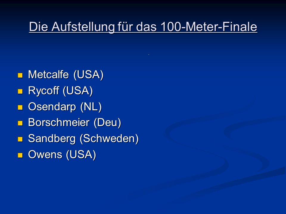 Die Aufstellung für das 100-Meter-Finale Metcalfe (USA) Metcalfe (USA) Rycoff (USA) Rycoff (USA) Osendarp (NL) Osendarp (NL) Borschmeier (Deu) Borschm
