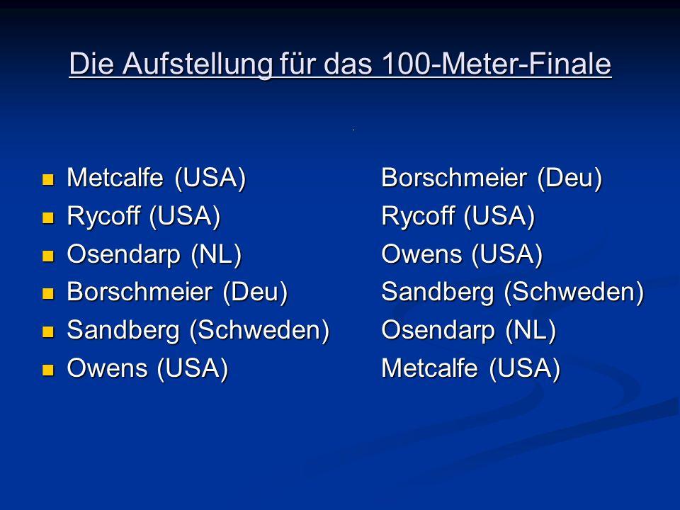 Die Aufstellung für das 100-Meter-Finale Metcalfe (USA)Borschmeier (Deu) Metcalfe (USA)Borschmeier (Deu) Rycoff (USA)Rycoff (USA) Rycoff (USA)Rycoff (