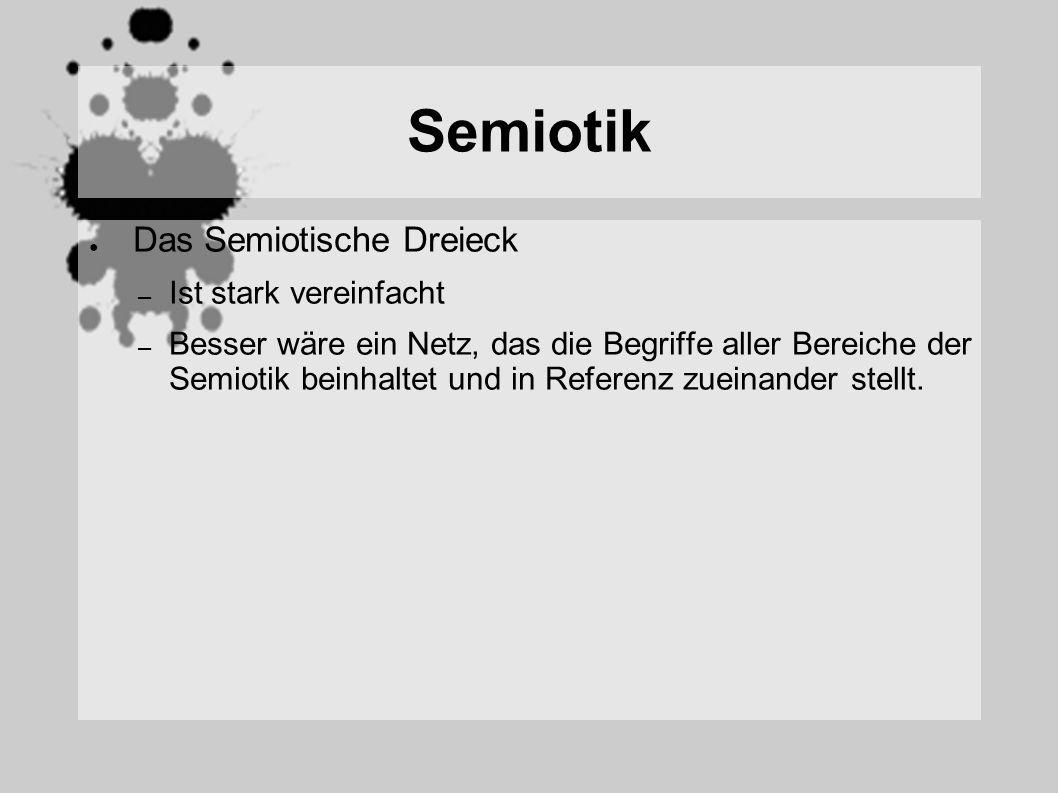 Semiotik Das Semiotische Dreieck – Ist stark vereinfacht – Besser wäre ein Netz, das die Begriffe aller Bereiche der Semiotik beinhaltet und in Referenz zueinander stellt.