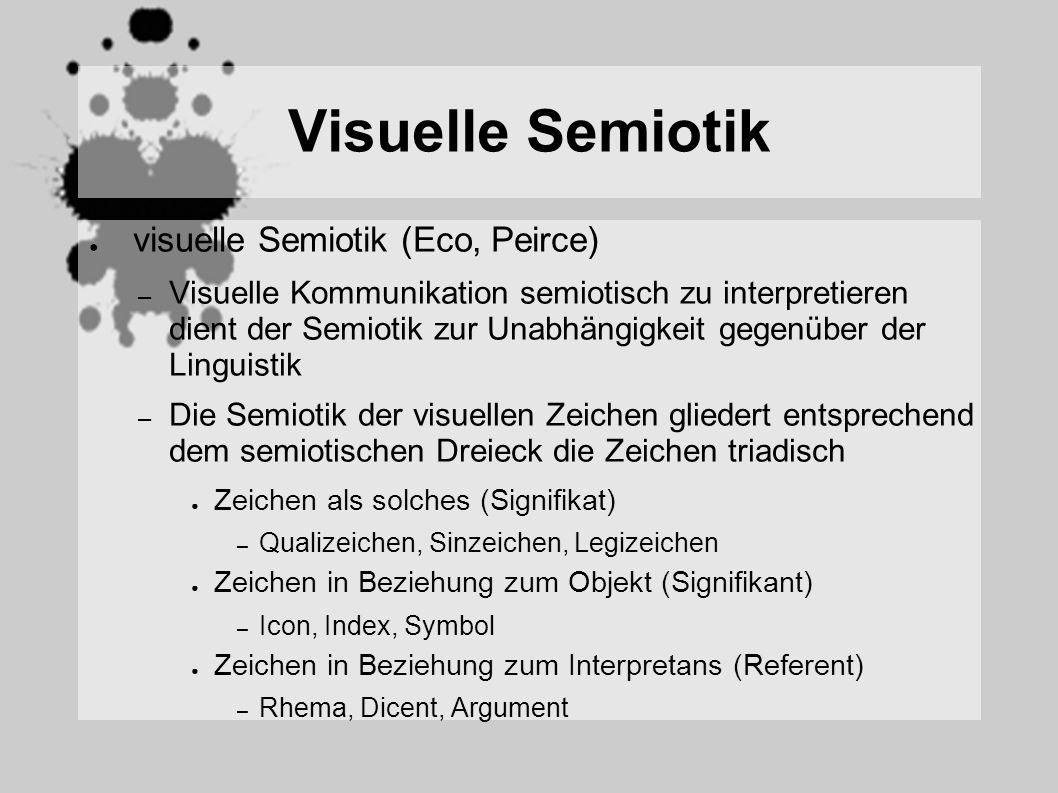 Visuelle Semiotik visuelle Semiotik (Eco, Peirce) – Visuelle Kommunikation semiotisch zu interpretieren dient der Semiotik zur Unabhängigkeit gegenüber der Linguistik – Die Semiotik der visuellen Zeichen gliedert entsprechend dem semiotischen Dreieck die Zeichen triadisch Zeichen als solches (Signifikat) – Qualizeichen, Sinzeichen, Legizeichen Zeichen in Beziehung zum Objekt (Signifikant) – Icon, Index, Symbol Zeichen in Beziehung zum Interpretans (Referent) – Rhema, Dicent, Argument
