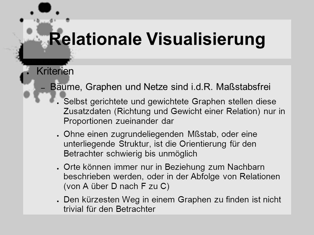 Relationale Visualisierung Kriterien – Bäume, Graphen und Netze sind i.d.R. Maßstabsfrei Selbst gerichtete und gewichtete Graphen stellen diese Zusatz
