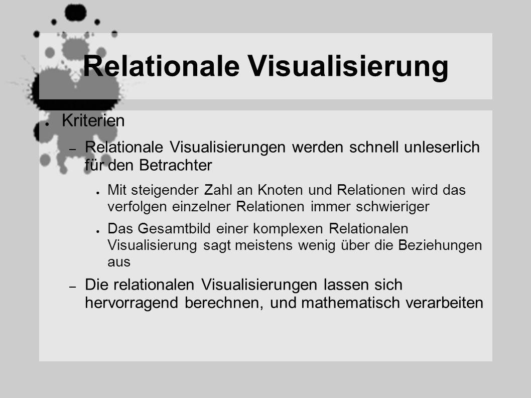 Relationale Visualisierung Kriterien – Relationale Visualisierungen werden schnell unleserlich für den Betrachter Mit steigender Zahl an Knoten und Relationen wird das verfolgen einzelner Relationen immer schwieriger Das Gesamtbild einer komplexen Relationalen Visualisierung sagt meistens wenig über die Beziehungen aus – Die relationalen Visualisierungen lassen sich hervorragend berechnen, und mathematisch verarbeiten