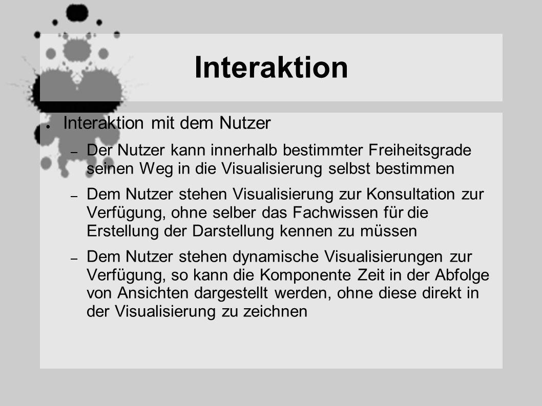 Interaktion Interaktion mit dem Nutzer – Der Nutzer kann innerhalb bestimmter Freiheitsgrade seinen Weg in die Visualisierung selbst bestimmen – Dem Nutzer stehen Visualisierung zur Konsultation zur Verfügung, ohne selber das Fachwissen für die Erstellung der Darstellung kennen zu müssen – Dem Nutzer stehen dynamische Visualisierungen zur Verfügung, so kann die Komponente Zeit in der Abfolge von Ansichten dargestellt werden, ohne diese direkt in der Visualisierung zu zeichnen