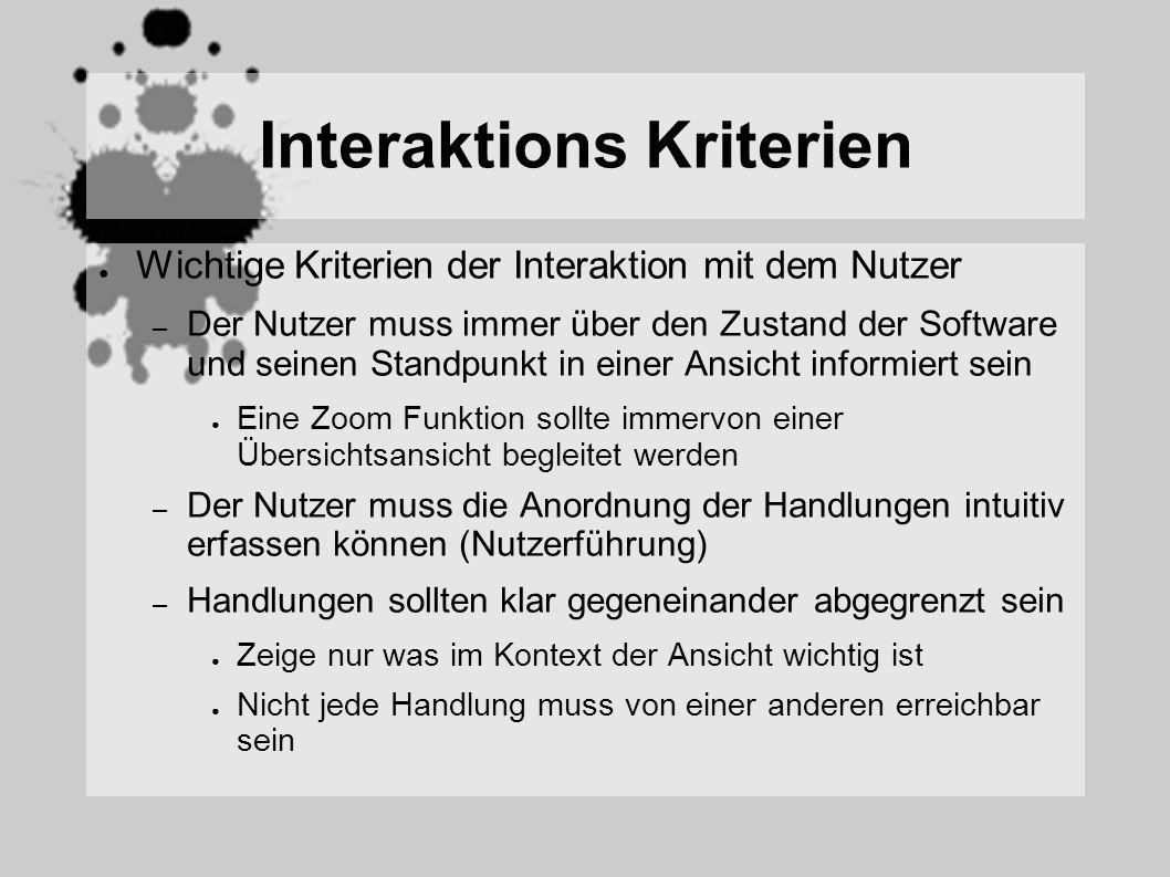 Interaktions Kriterien Wichtige Kriterien der Interaktion mit dem Nutzer – Der Nutzer muss immer über den Zustand der Software und seinen Standpunkt in einer Ansicht informiert sein Eine Zoom Funktion sollte immervon einer Übersichtsansicht begleitet werden – Der Nutzer muss die Anordnung der Handlungen intuitiv erfassen können (Nutzerführung) – Handlungen sollten klar gegeneinander abgegrenzt sein Zeige nur was im Kontext der Ansicht wichtig ist Nicht jede Handlung muss von einer anderen erreichbar sein