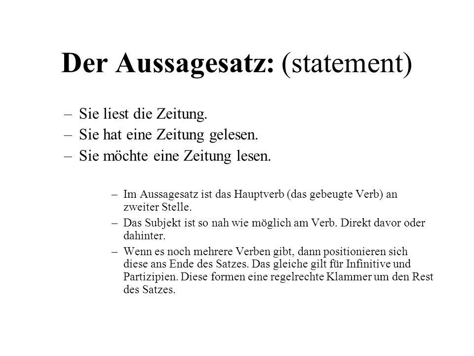 Der Fragesatz mit Fragewort: (question with interrogative pronoun) Was liest sie.