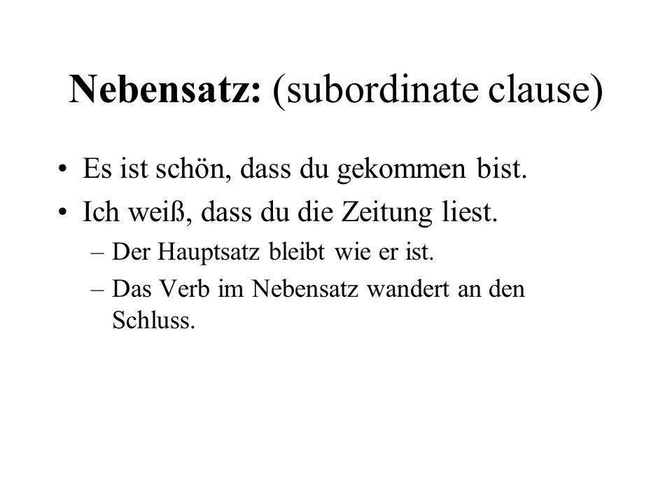 Nebensatz: (subordinate clause) Es ist schön, dass du gekommen bist.