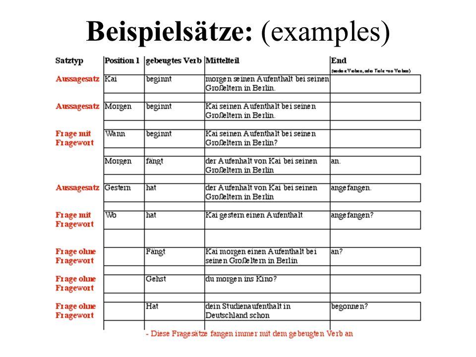 Beispielsätze: (examples)