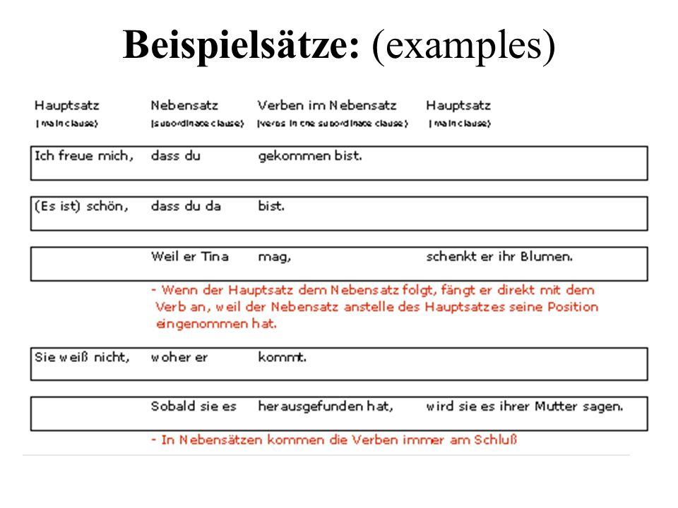 Satzverbindungen: (conjunctions) Die Konjunktionen: (coordinating conjunctions) Verbinden zwei Hauptsätze Verbposition ist in beiden Sätzen gleich.