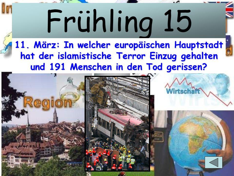 Frühling 10 22. April: Zwei Tankzüge explodieren, 161 Menschen sterben, Tausende werden verletzt. Das Land weigert sich aber zuerst, Hilfslieferungen