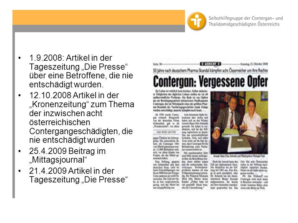 1.9.2008: Artikel in der Tageszeitung Die Presse über eine Betroffene, die nie entschädigt wurden.