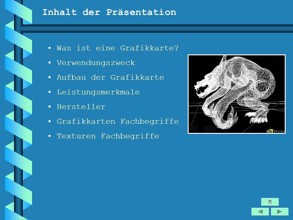 Inhalt der Präsentation Was ist eine Grafikkarte? Verwendungszweck Aufbau der Grafikkarte Leistungsmerkmale Hersteller Grafikkarten Fachbegriffe Textu