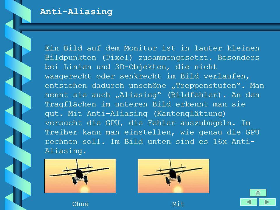 Anti-Aliasing Ein Bild auf dem Monitor ist in lauter kleinen Bildpunkten (Pixel) zusammengesetzt. Besonders bei Linien und 3D-Objekten, die nicht waag