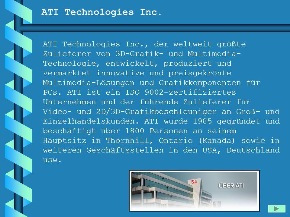 ATI Technologies Inc. ATI Technologies Inc., der weltweit größte Zulieferer von 3D-Grafik- und Multimedia- Technologie, entwickelt, produziert und ver