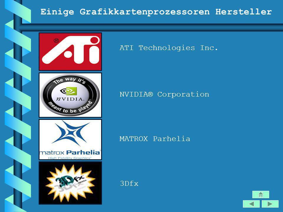 Einige Grafikkartenprozessoren Hersteller ATI Technologies Inc. NVIDIA® Corporation MATROX Parhelia 3Dfx
