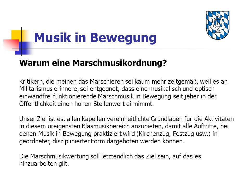 Warum eine Marschmusikordnung.