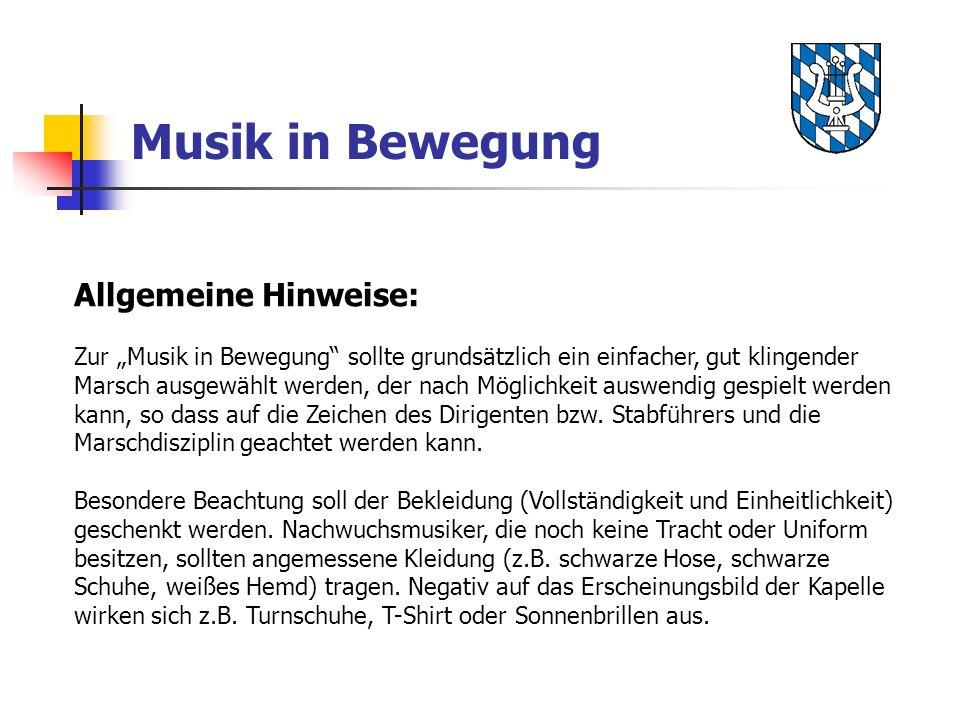 Musik in Bewegung Allgemeine Hinweise: Zur Musik in Bewegung sollte grundsätzlich ein einfacher, gut klingender Marsch ausgewählt werden, der nach Mög