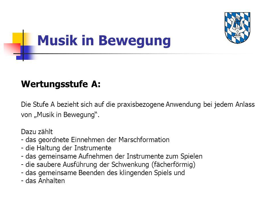 Musik in Bewegung Wertungsstufe A: Die Stufe A bezieht sich auf die praxisbezogene Anwendung bei jedem Anlass von Musik in Bewegung. Dazu zählt - das