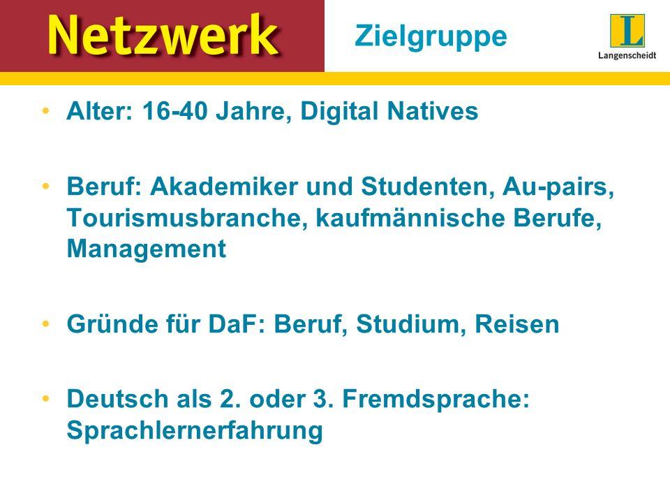 Zielgruppe Alter: 16-40 Jahre, Digital Natives Beruf: Akademiker und Studenten, Au-pairs, Tourismusbranche, kaufmännische Berufe, Management Gründe für DaF: Beruf, Studium, Reisen Deutsch als 2.