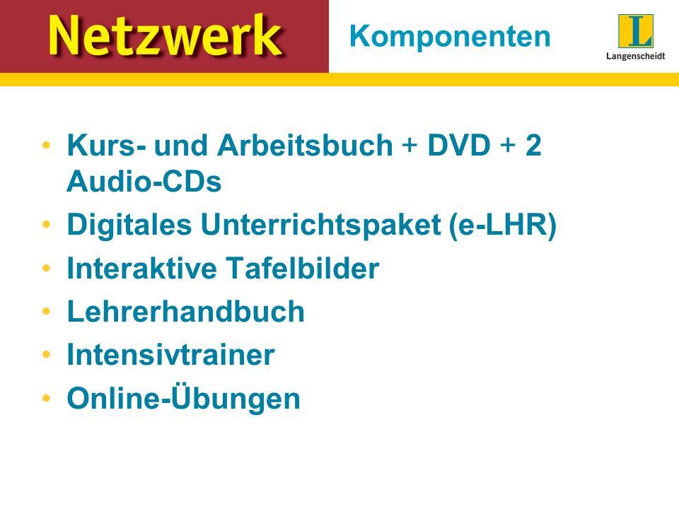 Komponenten Kurs- und Arbeitsbuch + DVD + 2 Audio-CDs Digitales Unterrichtspaket (e-LHR) Interaktive Tafelbilder Lehrerhandbuch Intensivtrainer Online-Übungen