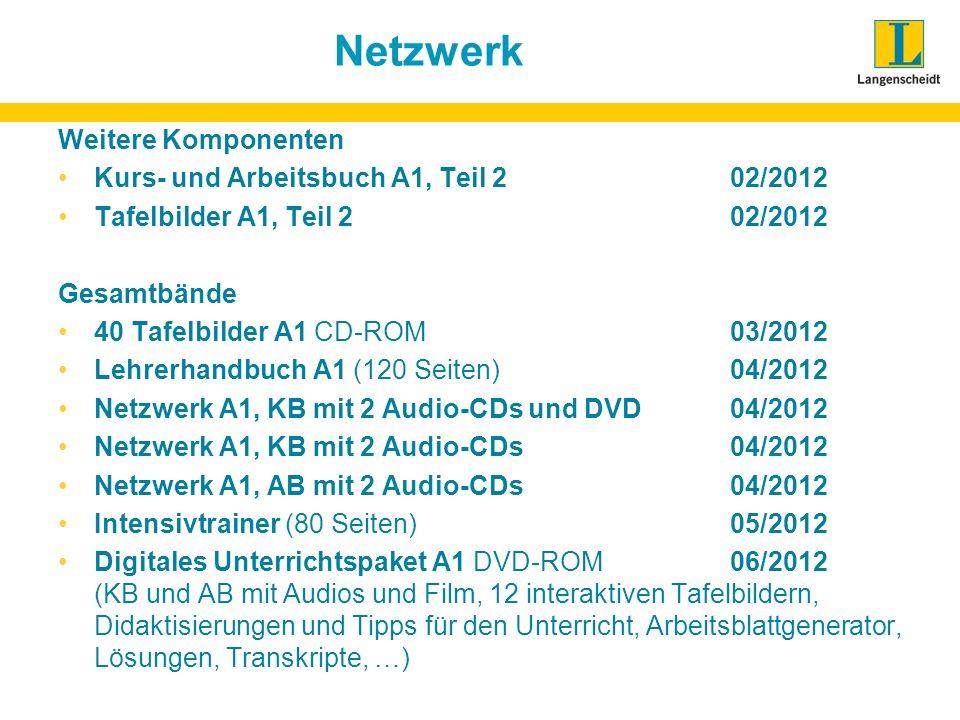 Netzwerk Weitere Komponenten Kurs- und Arbeitsbuch A1, Teil 202/2012 Tafelbilder A1, Teil 202/2012 Gesamtbände 40 Tafelbilder A1 CD-ROM03/2012 Lehrerh