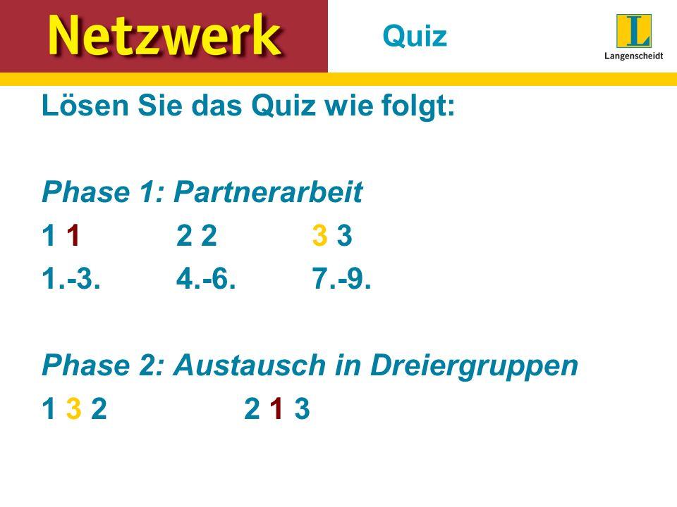 Quiz Lösen Sie das Quiz wie folgt: Phase 1: Partnerarbeit 1 1 2 2 3 3 1.-3.4.-6.7.-9. Phase 2: Austausch in Dreiergruppen 1 3 2 2 1 3