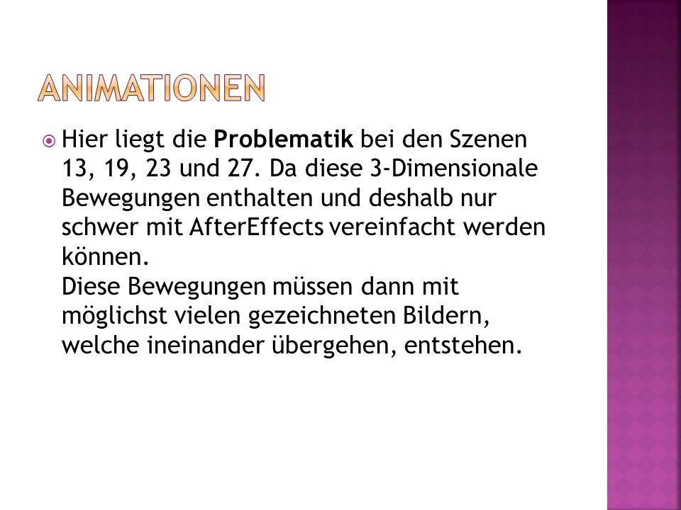 Hier liegt die Problematik bei den Szenen 13, 19, 23 und 27. Da diese 3-Dimensionale Bewegungen enthalten und deshalb nur schwer mit AfterEffects vere