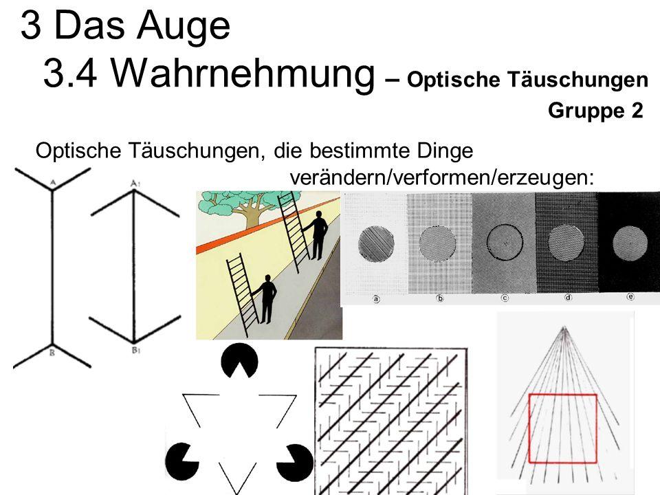 3 Das Auge 3.4 Wahrnehmung – Optische Täuschungen Gruppe 2 Optische Täuschungen, die bestimmte Dinge verändern/verformen/erzeugen: