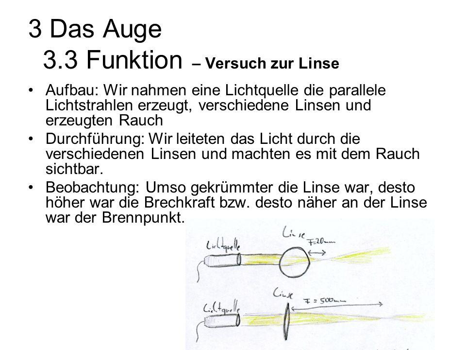 3 Das Auge 3.3 Funktion – Versuch zur Linse Aufbau: Wir nahmen eine Lichtquelle die parallele Lichtstrahlen erzeugt, verschiedene Linsen und erzeugten Rauch Durchführung: Wir leiteten das Licht durch die verschiedenen Linsen und machten es mit dem Rauch sichtbar.