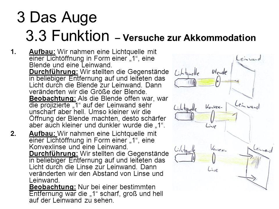 3 Das Auge 3.3 Funktion – Erkenntnis zur Akkommodation Unter Akkommodation versteht man, die Veränderung der Sehschärfe bzw.