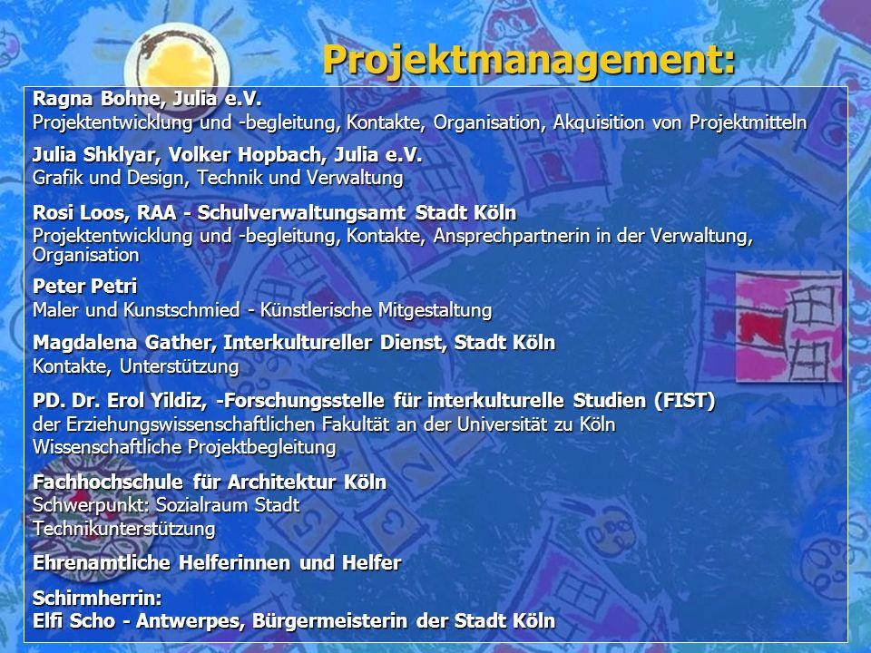 Projektmanagement: Ragna Bohne, Julia e.V. Projektentwicklung und -begleitung, Kontakte, Organisation, Akquisition von Projektmitteln Projektentwicklu