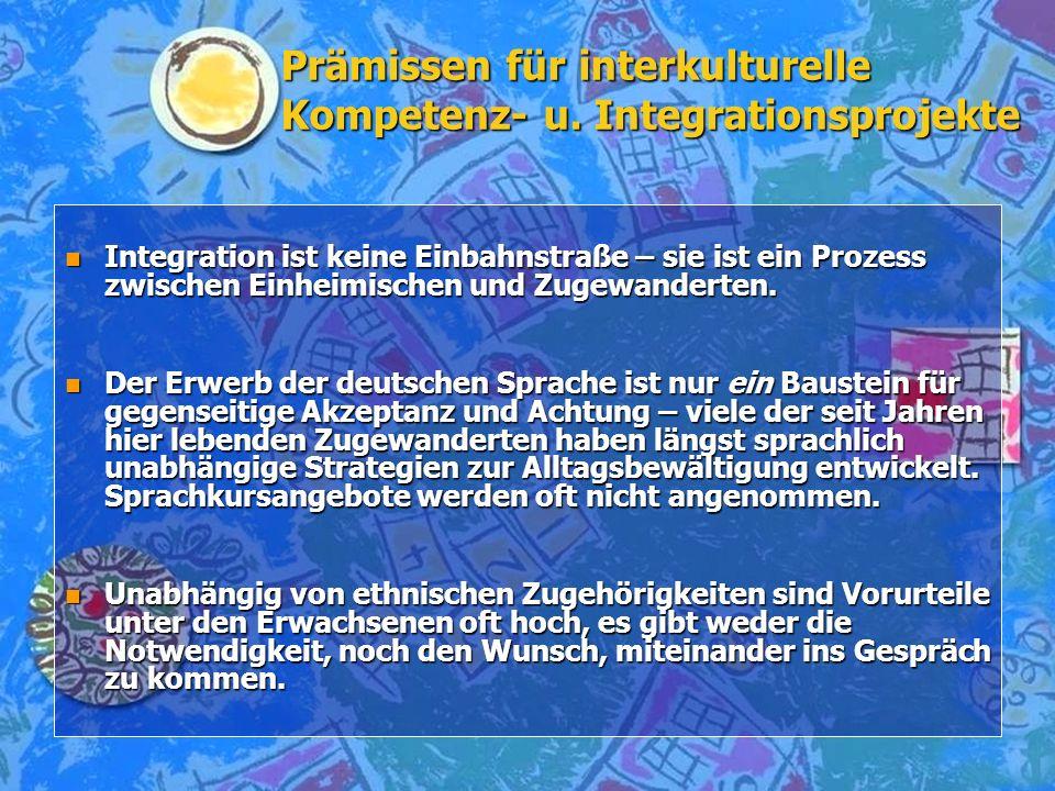 Prämissen für interkulturelle Kompetenz- u. Integrationsprojekte nInInInIntegration ist keine Einbahnstraße – sie ist ein Prozess zwischen Einheimisch