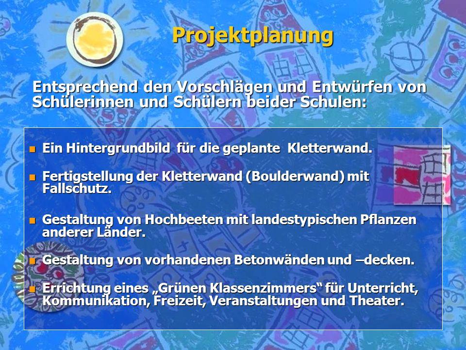 Umsetzung des Projektes n Maßstabsgerechtes Vermessen der Schulhofbereiche, Aufnahme des Ist-Standes.