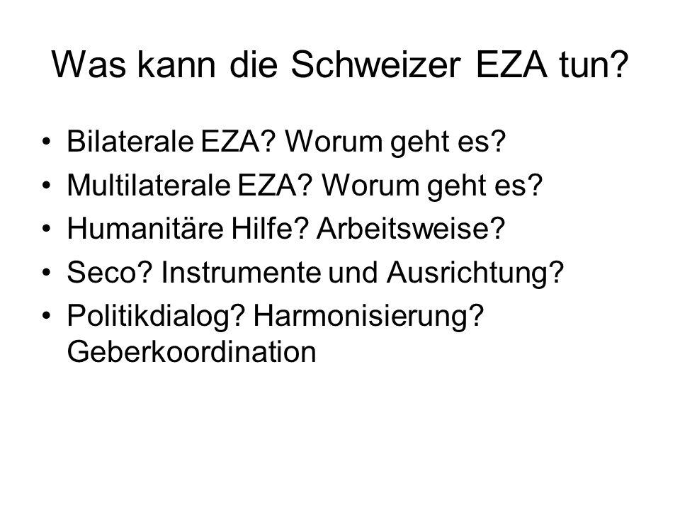 Was kann die Schweizer EZA tun? Bilaterale EZA? Worum geht es? Multilaterale EZA? Worum geht es? Humanitäre Hilfe? Arbeitsweise? Seco? Instrumente und