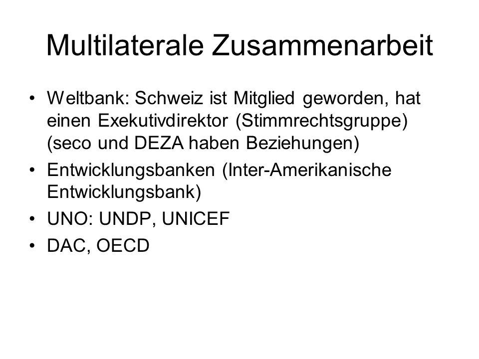 Multilaterale Zusammenarbeit Weltbank: Schweiz ist Mitglied geworden, hat einen Exekutivdirektor (Stimmrechtsgruppe) (seco und DEZA haben Beziehungen)