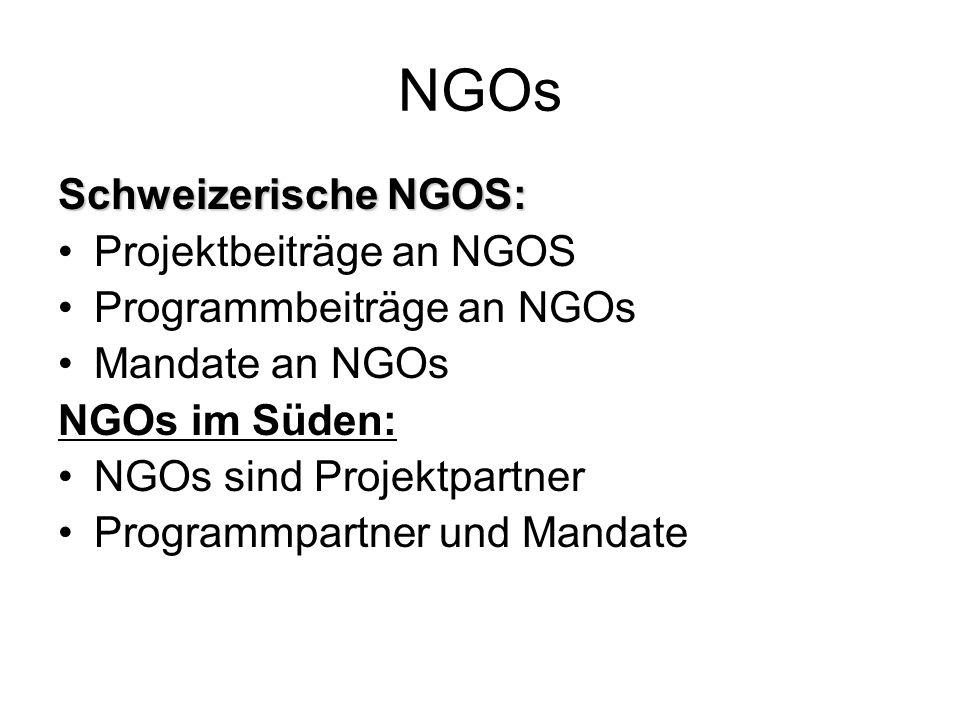 NGOs Schweizerische NGOS: Projektbeiträge an NGOS Programmbeiträge an NGOs Mandate an NGOs NGOs im Süden: NGOs sind Projektpartner Programmpartner und