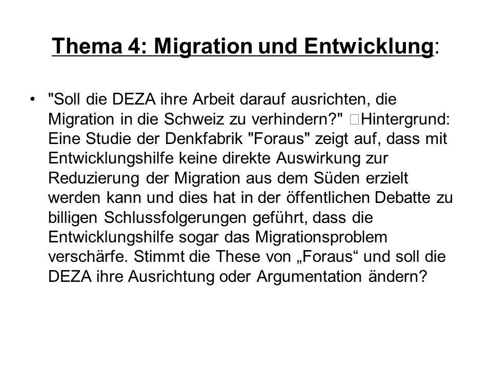 Thema 4: Migration und Entwicklung: