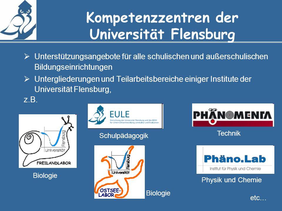 Kompetenzzentren der Universität Flensburg Unterstützungsangebote für alle schulischen und außerschulischen Bildungseinrichtungen Untergliederungen und Teilarbeitsbereiche einiger Institute der Universität Flensburg, z.B.