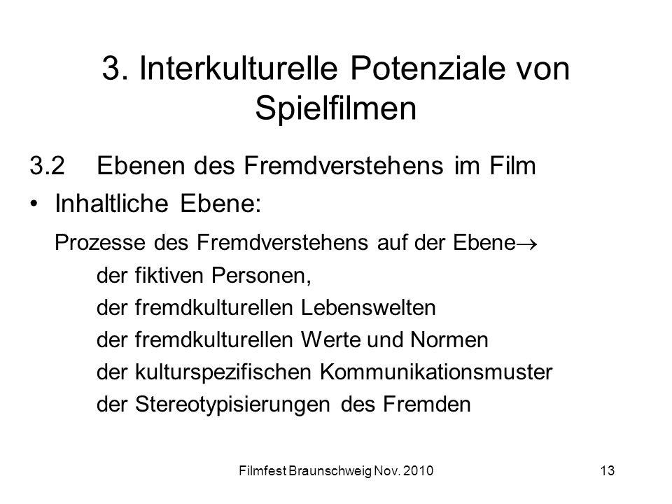 Filmfest Braunschweig Nov. 201013 3. Interkulturelle Potenziale von Spielfilmen 3.2Ebenen des Fremdverstehens im Film Inhaltliche Ebene: Prozesse des