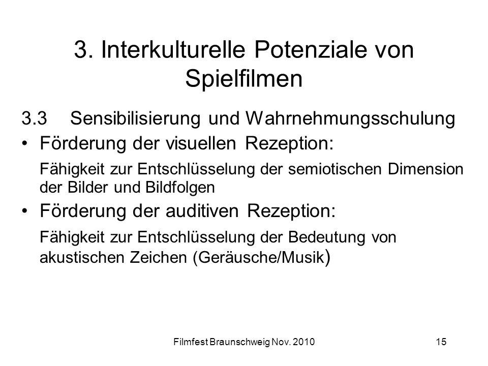 Filmfest Braunschweig Nov. 201015 3. Interkulturelle Potenziale von Spielfilmen 3.3Sensibilisierung und Wahrnehmungsschulung Förderung der visuellen R