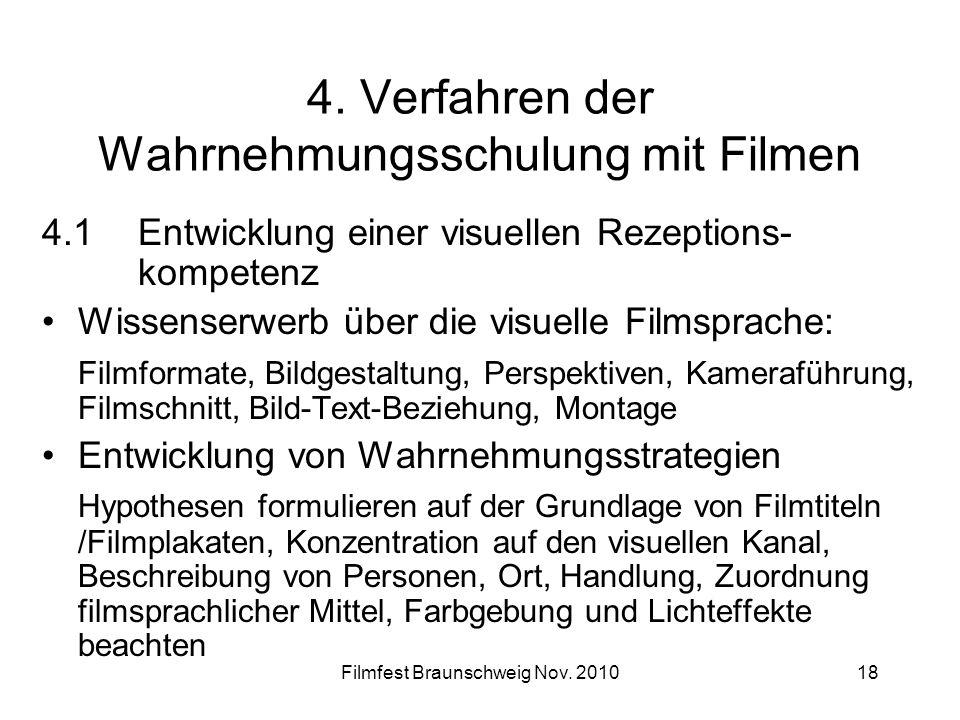 Filmfest Braunschweig Nov. 201018 4. Verfahren der Wahrnehmungsschulung mit Filmen 4.1Entwicklung einer visuellen Rezeptions- kompetenz Wissenserwerb