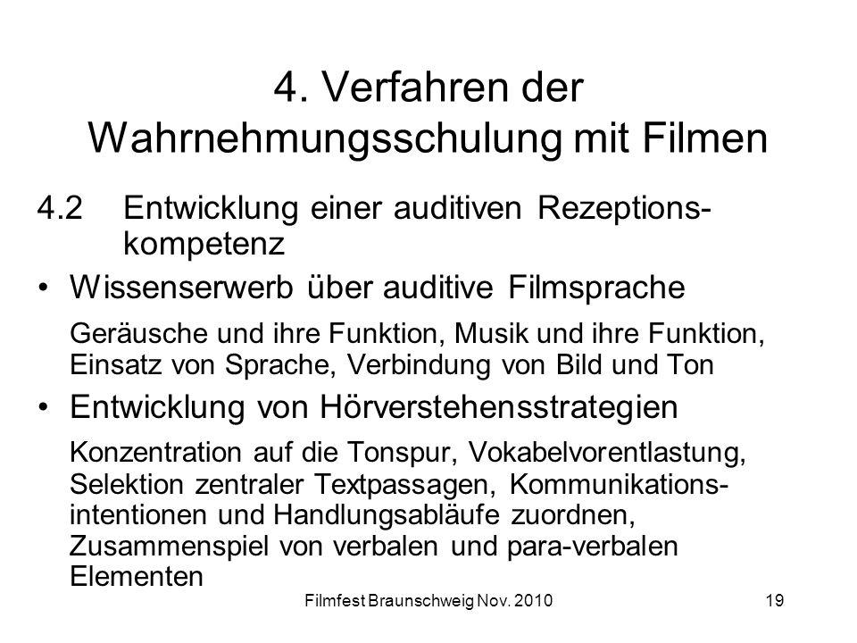 Filmfest Braunschweig Nov. 201019 4. Verfahren der Wahrnehmungsschulung mit Filmen 4.2Entwicklung einer auditiven Rezeptions- kompetenz Wissenserwerb
