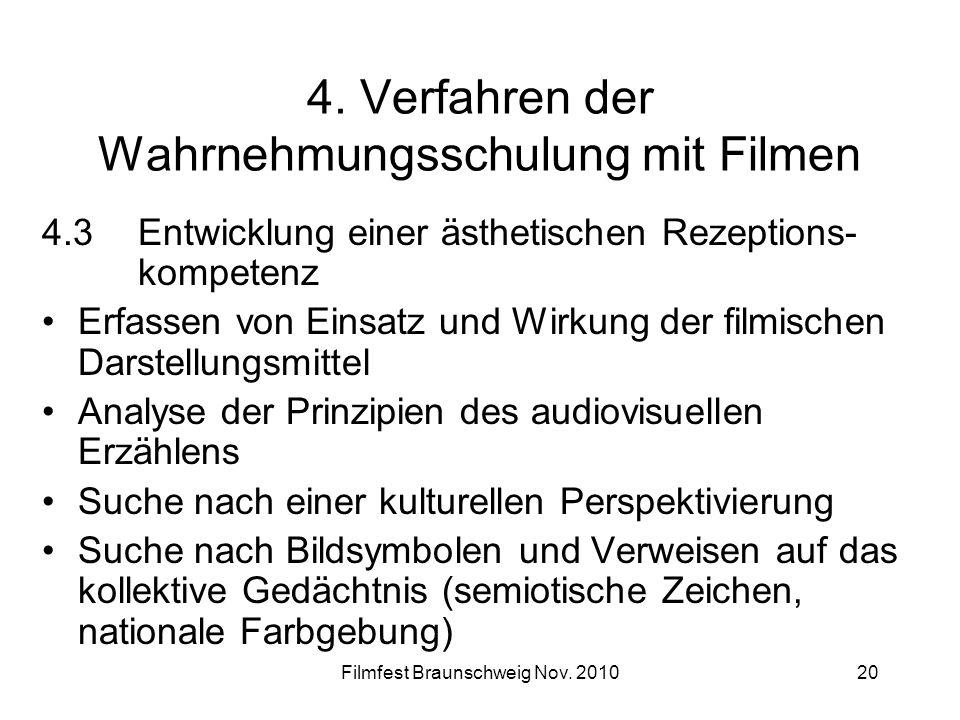Filmfest Braunschweig Nov. 201020 4. Verfahren der Wahrnehmungsschulung mit Filmen 4.3Entwicklung einer ästhetischen Rezeptions- kompetenz Erfassen vo
