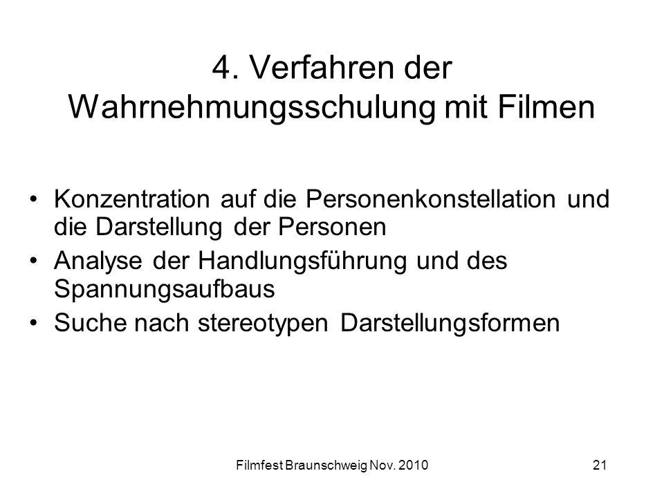Filmfest Braunschweig Nov. 201021 4. Verfahren der Wahrnehmungsschulung mit Filmen Konzentration auf die Personenkonstellation und die Darstellung der